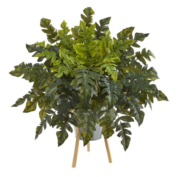 26 Holly Fern Artificial Plant in Green Planter with Stand - SKU #P1232
