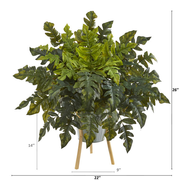 26 Holly Fern Artificial Plant in Green Planter with Stand - SKU #P1232 - 1
