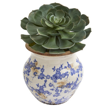 12 Echeveria Succulent Pick Artificial Plant in Vintage Floral Planter - SKU #P1233