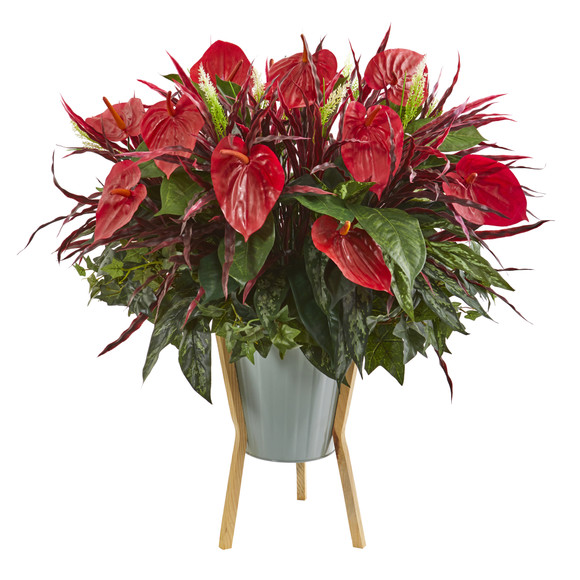 28 Mixed Anthurium Artificial Plant in Green Planter with Stand - SKU #P1235