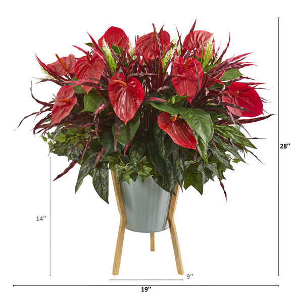 28 Mixed Anthurium Artificial Plant in Green Planter with Stand - SKU #P1235 - 1