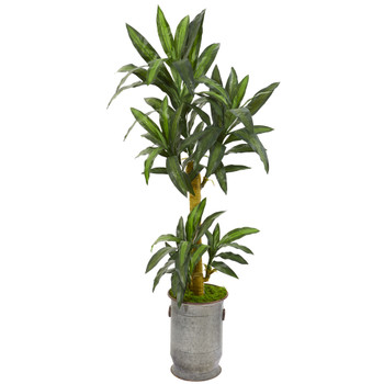 68 Yucca Artificial Plant in Copper Trimmed Metal Planter - SKU #P1236