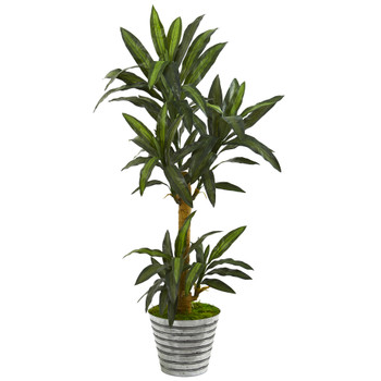 5 Yucca Artificial Plant in Decorative Tin Bucket - SKU #P1243