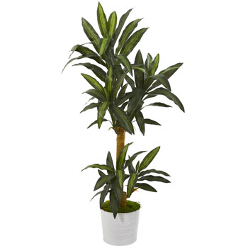 59 Yucca Artificial Plant in White Tin Planter - SKU #P1244