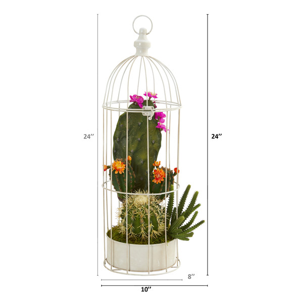 24 Mixed Cactus Succulent Artificial Plant in Decorative Cage - SKU #P1250 - 1