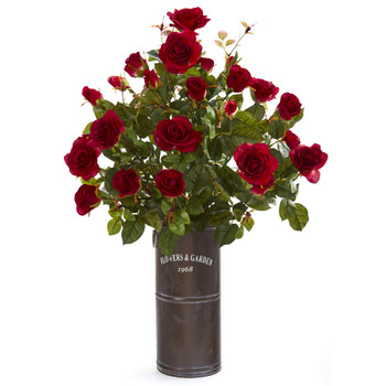 31 Garden Rose Artificial Plant in Decorative Planter - SKU #P1253-RD