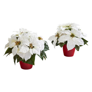 12 Poinsettia Artificial Plant in Red Planter Set of 2 - SKU #P1254-S2