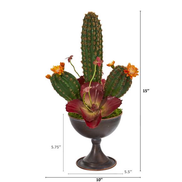 15 Cactus Artificial Plant in Metal Chalice - SKU #P1259 - 1