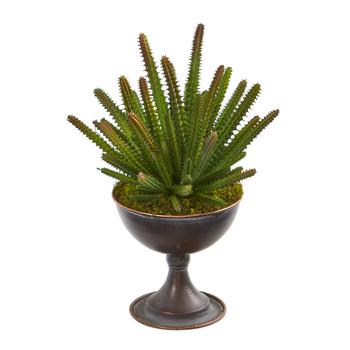12 Cactus Succulent Artificial Plant in Metal Chalice - SKU #P1262