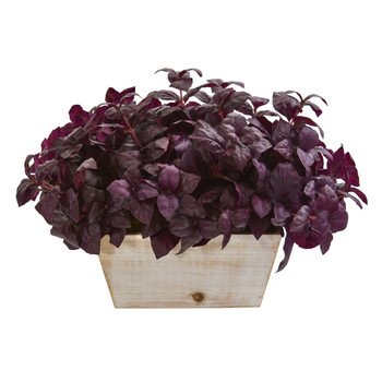 17 Basil Artificial Plant in White Wash Planter - SKU #P1265