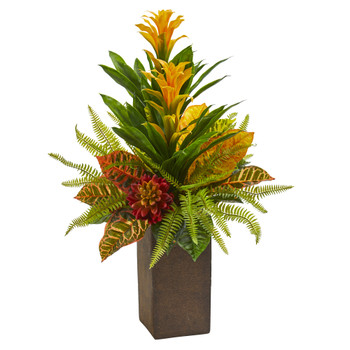 25 Bromeliad Croton and Succulent Artificial Plant in Weathered Brown Planter - SKU #P1266