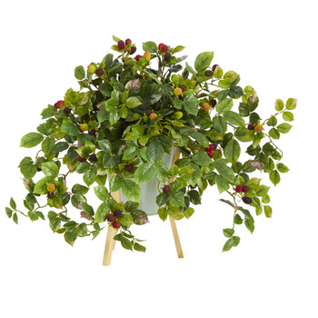 23 Raspberry Artificial Plant in Green Planter with Stand - SKU #P1268