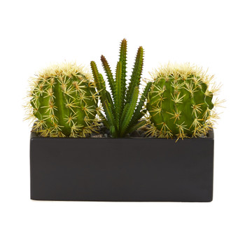 11 Cactus Succulent Artificial Plant in Black Planter - SKU #P1273