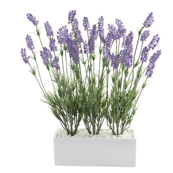 20 Lavender Artificial Plant in White Planter - SKU #P1275