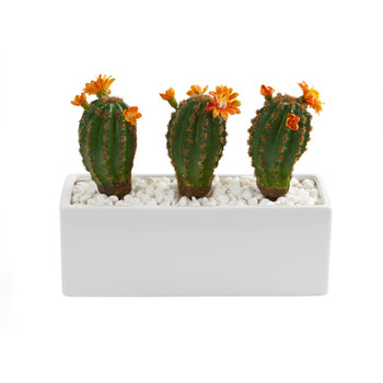 11 Cactus Succulent Artificial Plant in Glazed White Planter - SKU #P1278
