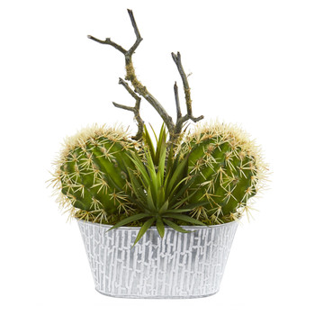 14 Cactus and Agave Succulent Artificial Plant in White Tin Planter - SKU #P1281