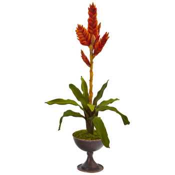 26 Tropical Bromeliad Artificial Plant in Metal Chalice - SKU #P1283