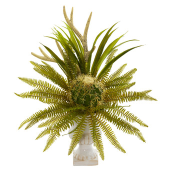 23 Cactus and Fern Artificial Plant in White Urn - SKU #P1284