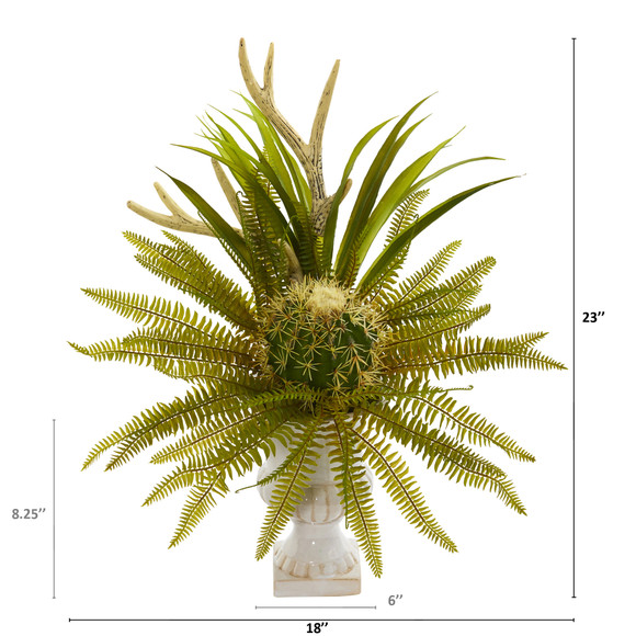 23 Cactus and Fern Artificial Plant in White Urn - SKU #P1284 - 1