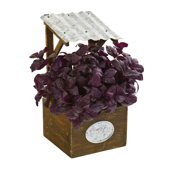 11 Basil Artificial Plant in Tin Roof Planter - SKU #P1288