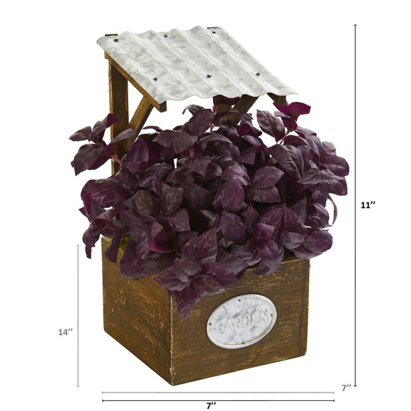 11 Basil Artificial Plant in Tin Roof Planter - SKU #P1288 - 1
