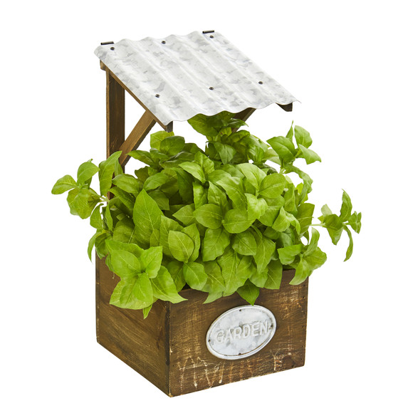 11 Basil Artificial Plant in Tin Roof Planter - SKU #P1288 - 2