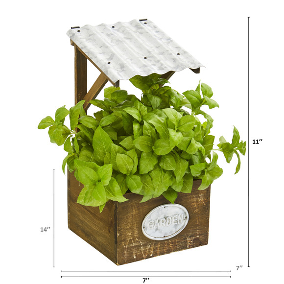 11 Basil Artificial Plant in Tin Roof Planter - SKU #P1288 - 3
