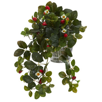 13 Strawberry Artificial Plant in Vintage Hanging Metal Planter - SKU #P1289