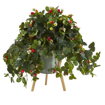 23 Strawberry Artificial Plant with Berries in Green Planter with Stand - SKU #P1290
