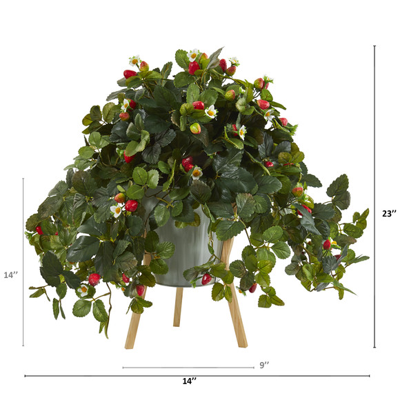 23 Strawberry Artificial Plant with Berries in Green Planter with Stand - SKU #P1290 - 1