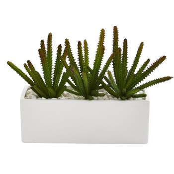 9 Cactus Succulent Artificial Plant in White Planter - SKU #P1294