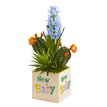 15 Hyacinth and Succulent Artificial Plant in New Baby Planter - SKU #P1299