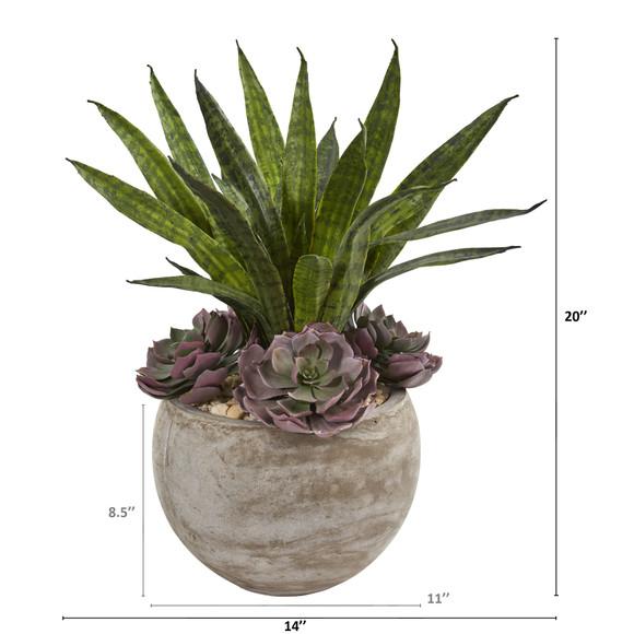 20 Echeveria Succulent and Sansevieria Artificial Plant in Sand Colored Planter - SKU #P1314 - 1