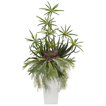 3 Staghorn Succulent and Cyperus Artificial Plant in White Planter - SKU #P1315