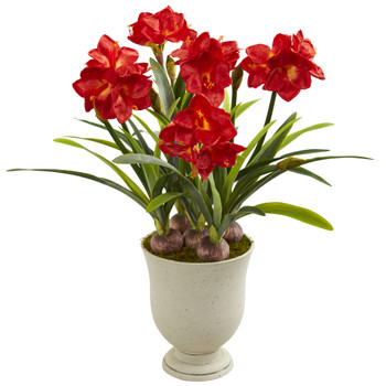 3.5 Amaryllis Artificial Plant in Decorative Urn - SKU #P1316