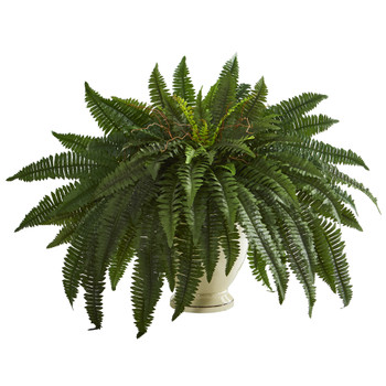 27 Double Boston Fern Artificial Plant in Decorative Urn - SKU #P1317