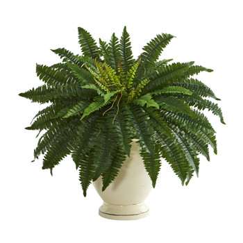 2 Double Boston Fern Artificial Plant in Decorative Urn - SKU #P1318