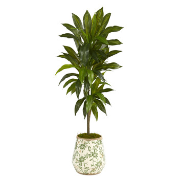 4 Dracaena Artificial Plant in Flower Print Planter Real Touch - SKU #P1326