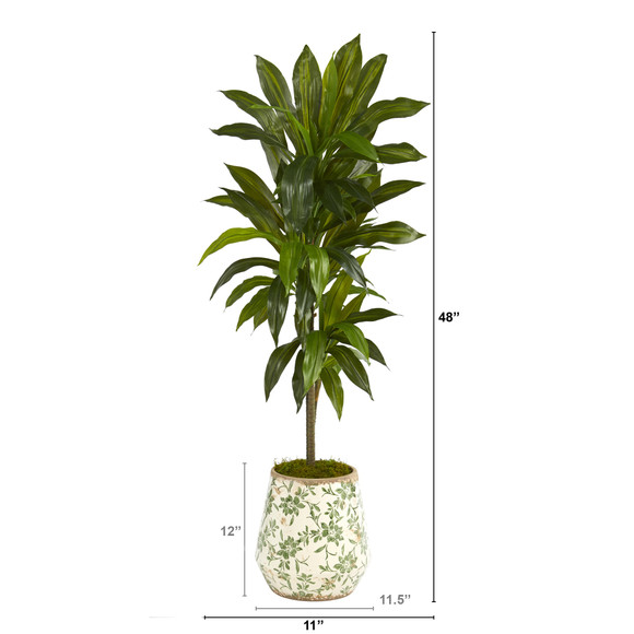 4 Dracaena Artificial Plant in Flower Print Planter Real Touch - SKU #P1326 - 1