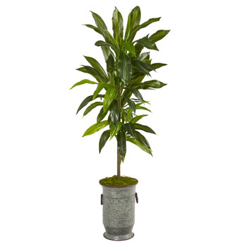 4 Dracaena Artificial Plant in Vintage Metal Planter Real Touch - SKU #P1327