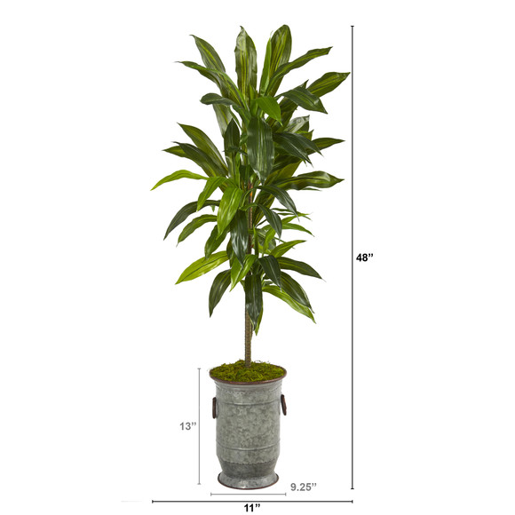 4 Dracaena Artificial Plant in Vintage Metal Planter Real Touch - SKU #P1327 - 1
