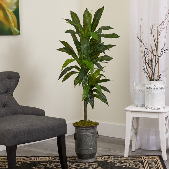 4 Dracaena Artificial Plant in Vintage Metal Planter Real Touch - SKU #P1327 - 2