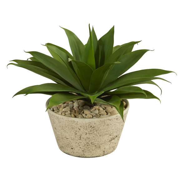 1.5 Agave Succulent Artificial Plant in White Planter - SKU #P1330