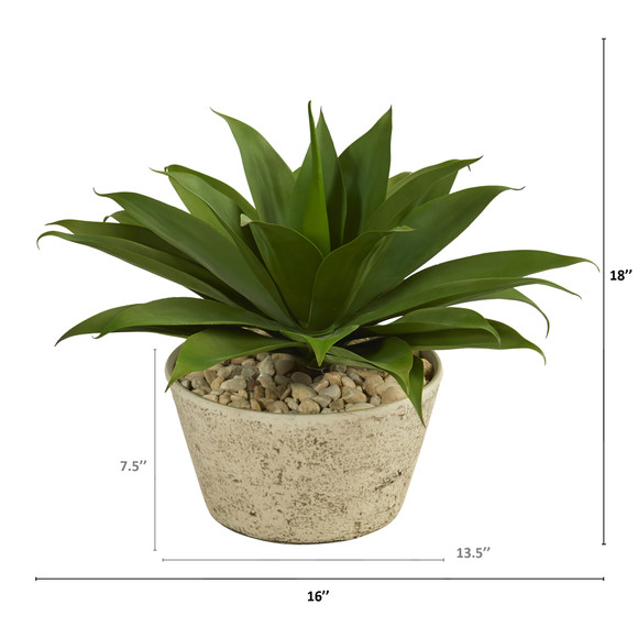1.5 Agave Succulent Artificial Plant in White Planter - SKU #P1330 - 1