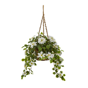 3.5 Poinsettia and Variegated Holly Artificial Plant in Hanging Basket Real Touch - SKU #P1338-WH