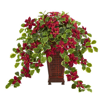 25 Poinsettia and Variegated Holly Artificial Plant in Planter Real Touch - SKU #P1339-RD