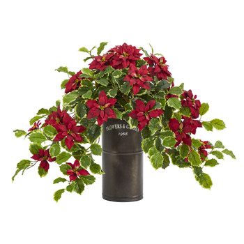 21 Poinsettia and Variegated Holly Artificial Plant in Decorative Planter Real Touch - SKU #P1341-RD