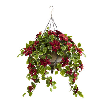 3 Poinsettia and Variegated Holly Artificial Plant in Metal Hanging Bowl Real Touch - SKU #P1342