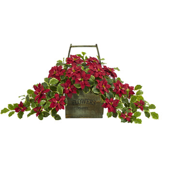 18 Poinsettia and Variegated Holly Artificial Plant in Vintage Decorative Basket Real Touch - SKU #P1343-RD