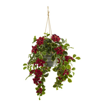 3.5 Poinsettia and Variegated Holly Artificial Plant in Hanging Metal Bucket Real Touch - SKU #P1344